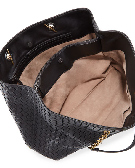 3e8307d2d77 Bottega Veneta Intrecciato Medium Double Chain Tote Bag