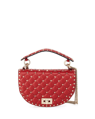 Rockstud Spike Napa Leather Saddle Bag