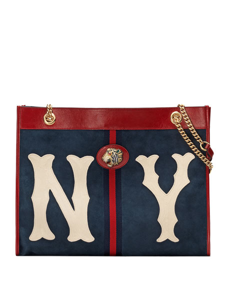 Linea Tiger Large Suede Tote Bag With Ny Yankees Mlb Patch, Blue/Red