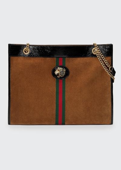 Linea Rajah Large Suede Shoulder Tote Bag with Patent Trim