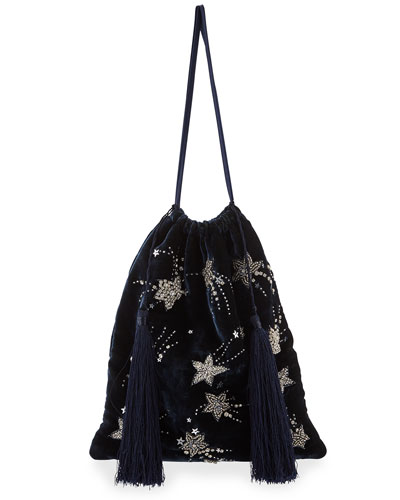 Velvet Stars and Moon Pouch Bag, Blue