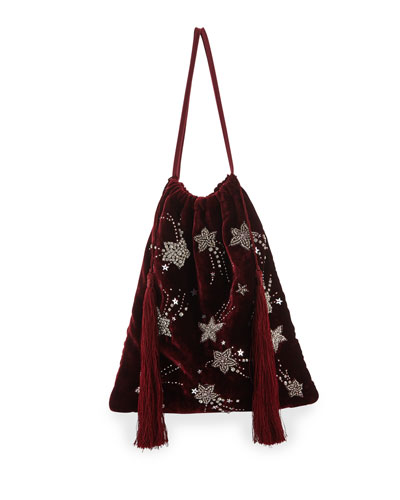 Velvet Stars and Moon Pouch Bag, Red