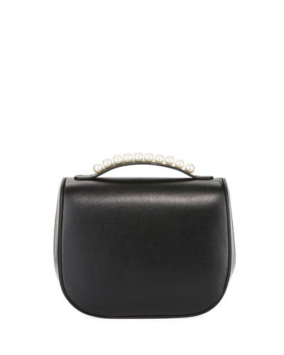 Leather Box Bag with Pearly Studs
