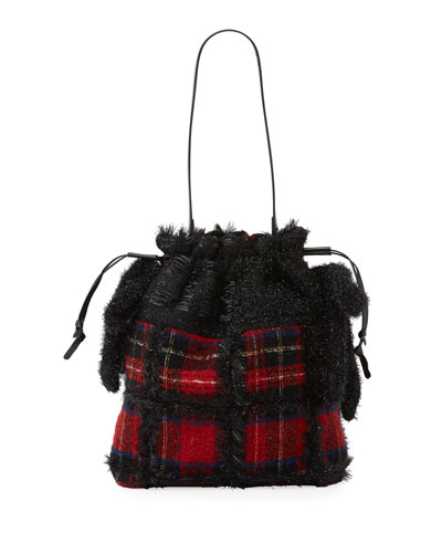 Tartan Patchwork Drawstring Bag
