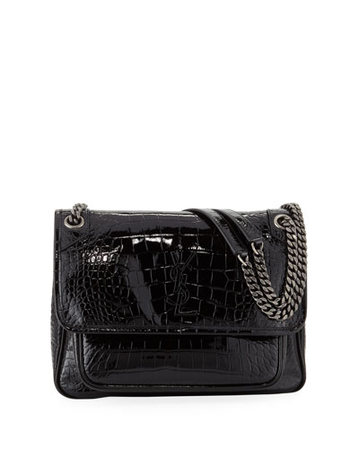 Niki Medium Monogram YSL Croco Shoulder Bag