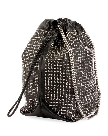 Teddy Eyelet Studded Leather Drawstring Bucket Bag
