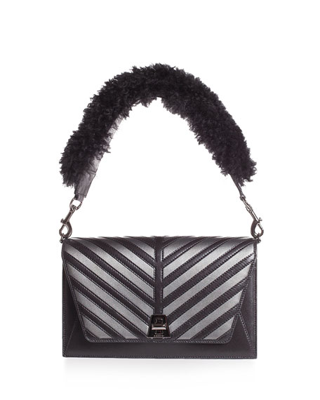 Akris Anouk Small City Oversize-Herringbone Shoulder Bag with