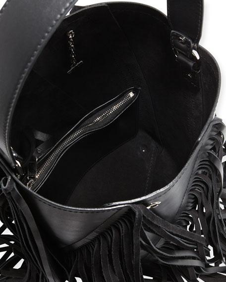 Hex Medium Leather Bucket Bag with Fringe