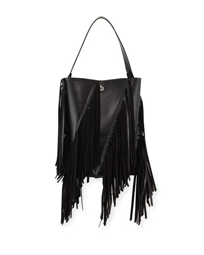 Hex Medium Leather Bucket Bag with Fringe