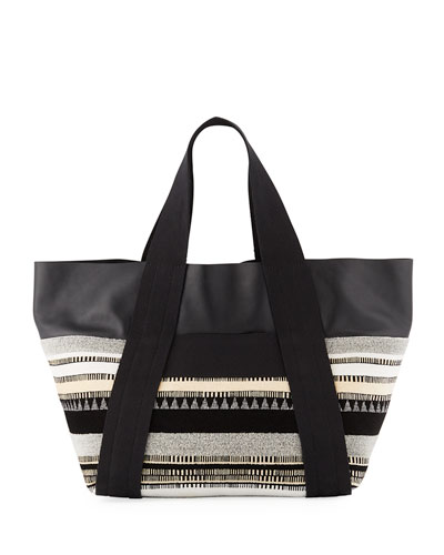 Convertible East-West Jacquard/Leather Tote Bag