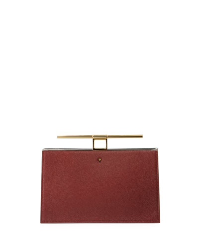 Chateau Leather Bar-Handle Clutch Bag