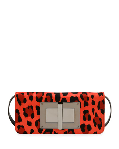 Natalia Long Leopard-Print Velvet Day Bag