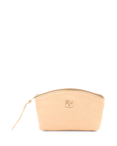 Soft Leather Zip Cosmetics Pouch Bag, Beige