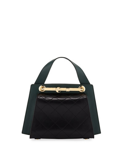 Colorblock Leather Doctor's Tote Bag