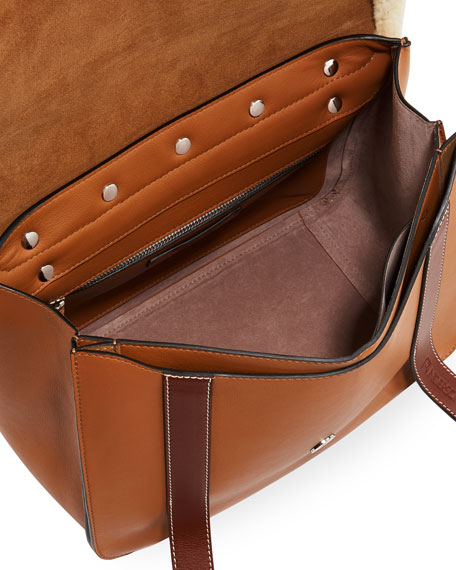 Disc Satchel Bag with Shearling Trim