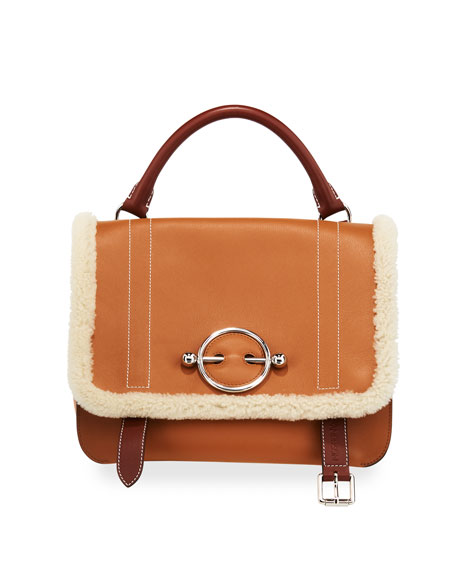 JW Anderson Disc Satchel Bag with Shearling Trim