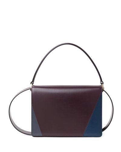 Leather Colorblock Twist Shoulder Bag