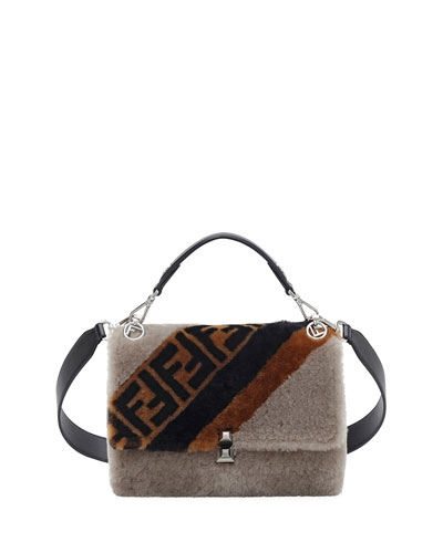 Kan I FF 1974 Shearling Marquetry Shoulder Bag