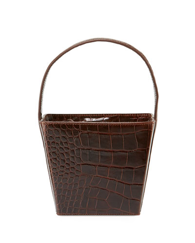 Edie Croc-Embossed Leather Bucket Bag