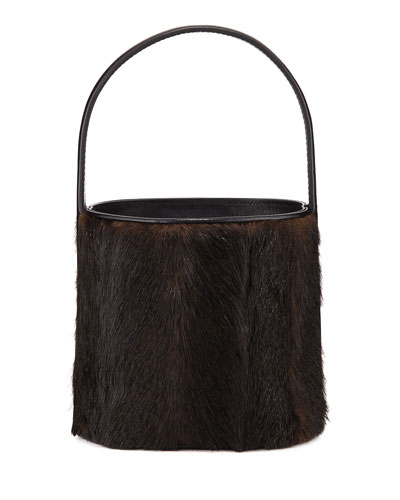 Bissett Faux Mink Top-Handle Bucket Bag