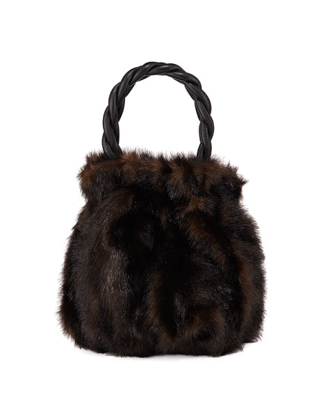 Grace Faux Fur-Trimmed Leather Bag in Brown