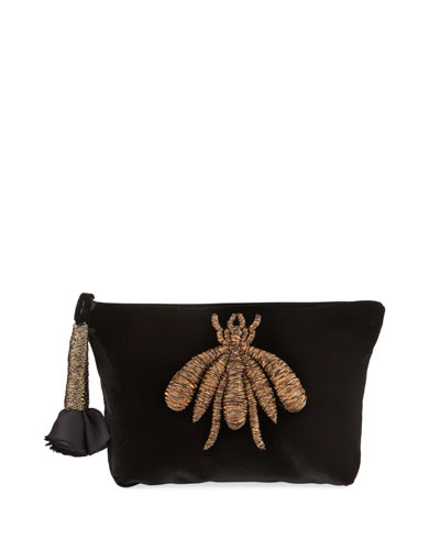 Ragno Velvet Embroidered Pouch Clutch Bag