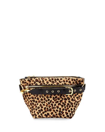 Trapezoid Pouch Leopard Cow Hair Shoulder Bag