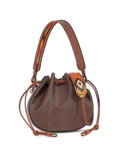 Paisley Drawstring Leather Bucket Bag