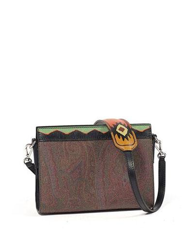 Paisley-Print Leather Clutch Bag