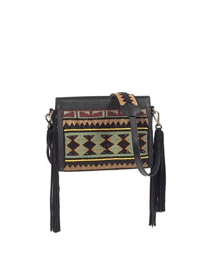 Southwest-Embroidered Fringe Crossbody Bag