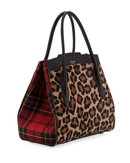 Bancroft Leopard Tartan Satchel Bag