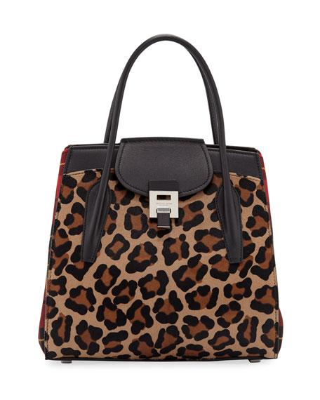 2814a15604a7 Michael Kors Bancroft Leopard Tartan Satchel Bag
