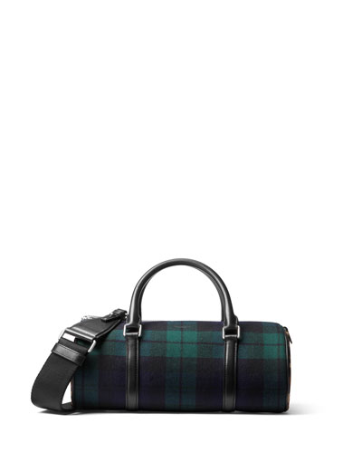 Tartan Eva Plaid Leopard-Print Barrel Bag