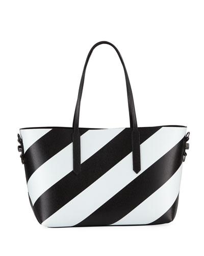 Medium Diagonal Striped Leather Tote Bag
