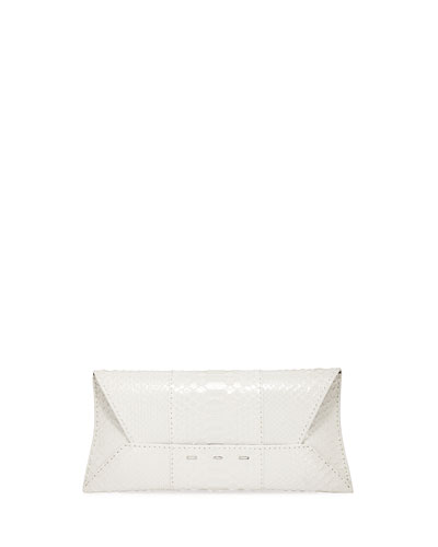 Manila Stretch Topstitch Metallic Python Clutch Bag