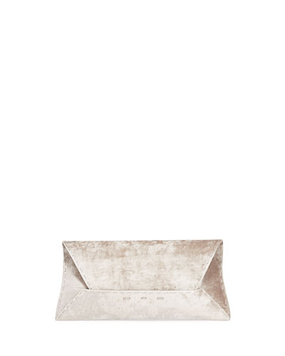 Manila Stretch T Velvet Clutch Bag  Light Gray