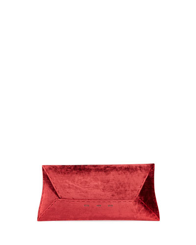 Manila Stretch T Velvet Clutch Bag  Wine