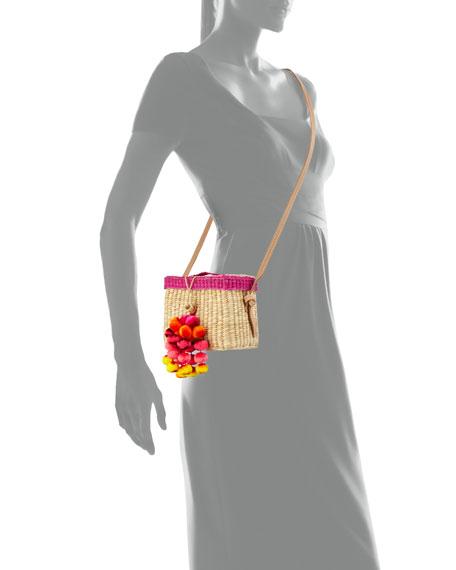 Roge Woven Raffia Pompom Crossbody Bag