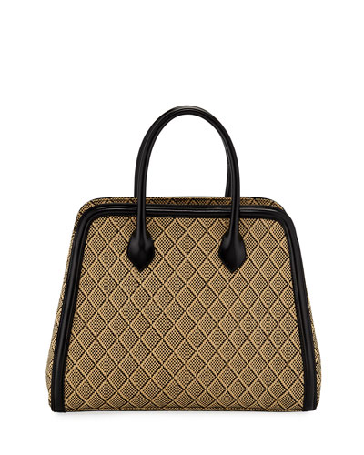 Woven Raffia Top-Handle Bag