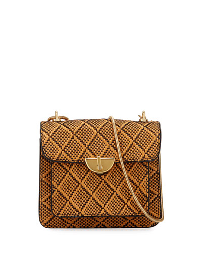 Woven Two-Tone Shoulder Bag