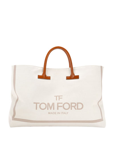 Large Printed Canvas and Leather Top-Handle Tote Bag