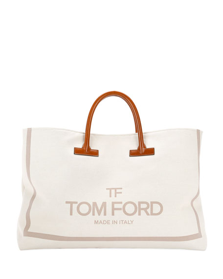 Large Printed Canvas And Leather Top-Handle Tote Bag in Light Beige