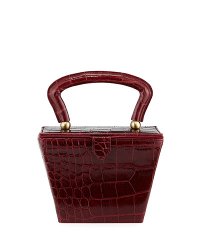 Sadie Crocodile-Embossed Box Top Handle Bag