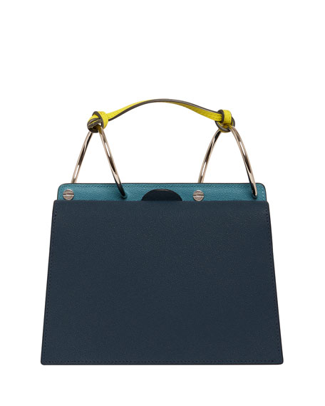 Phoebe Bis Leather Coil-Top Satchel Bag