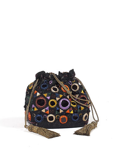 Circle Embroidered Pouch Bag
