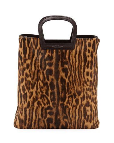 Ocelot Leopard-Print Calf Hair Horseshoe Tote Bag