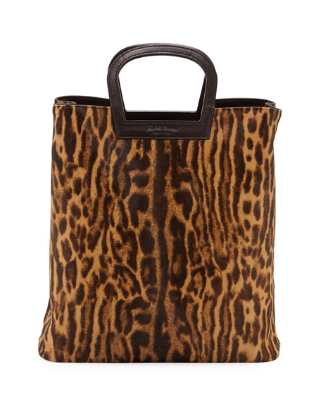 645e1d41e6f3 Ralph Lauren Ocelot Leopard-Print Calf Hair Horseshoe Tote Bag