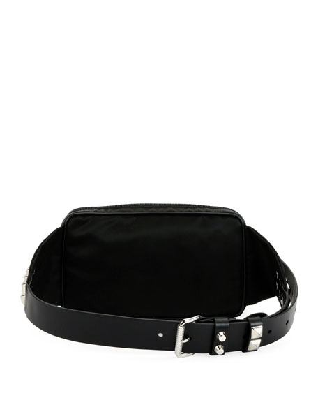 Prada Black Nylon Belt Bag With Studding