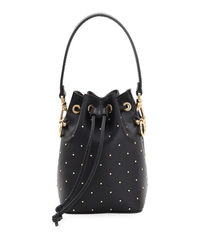 Mon Tresor Studded Leather Bucket Bag
