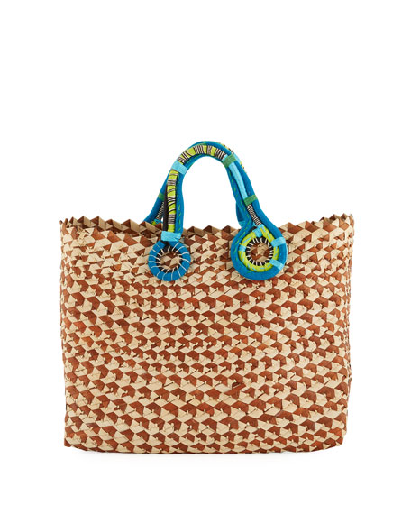 NANNACAY - COTIO Belle Woven Colorblock Tote Bag in Brown